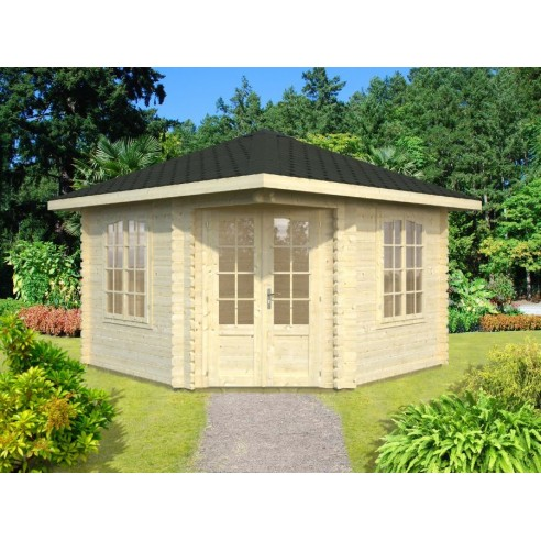 Tonnelle de jardin Mélanie 9.6 m² avec plancher - Bois massif 44 mm