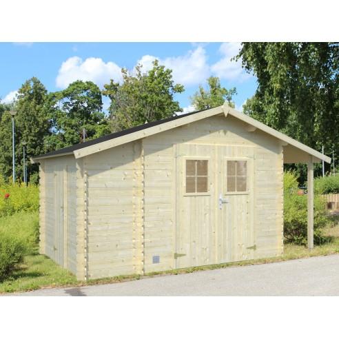 Abri de jardin Méribel 8.5 m² + appentis en bois massif 19 mm