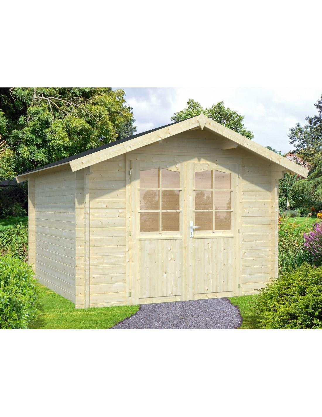 Abri de jardin dublin 5 3 m bois massif 34 mm for Cabane de jardin en bois traite