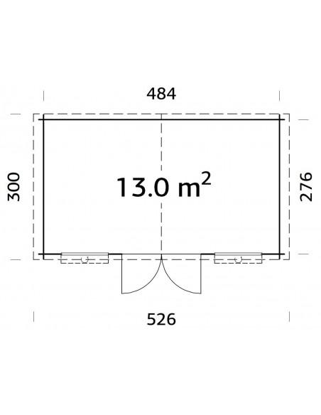 Abri de jardin Luxembourg 13.3 m² en bois massif 28 mm