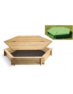 Bac à sable SANDY PARK en bois 120x120 - Enfants 3/8 ans