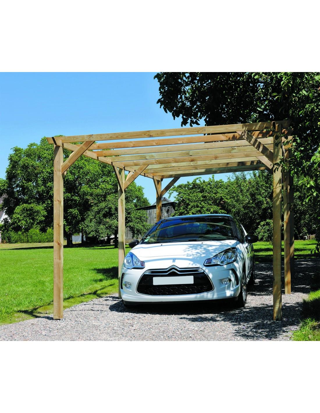 carport marenello 15 m pour une voiture poteaux trait s 9x9 cm. Black Bedroom Furniture Sets. Home Design Ideas