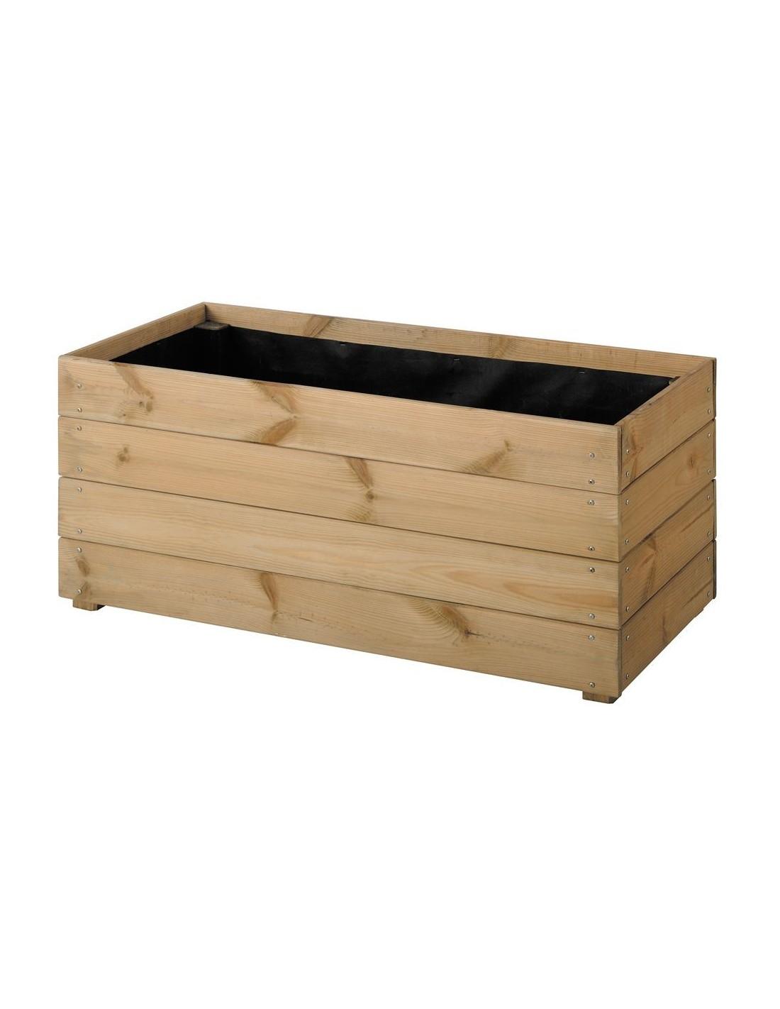 Jardini re essencia 40x80 cm bois trait autoclave - Jardiniere en bois sur pied ...