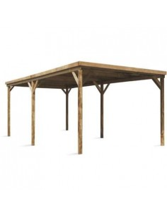 Carport Evolution 15.4 m² avec couverture en polycarbonate - Poteaux traités 12x12 cm