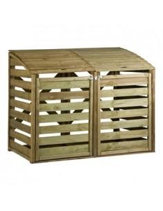 Cache-poubelles double en bois traité