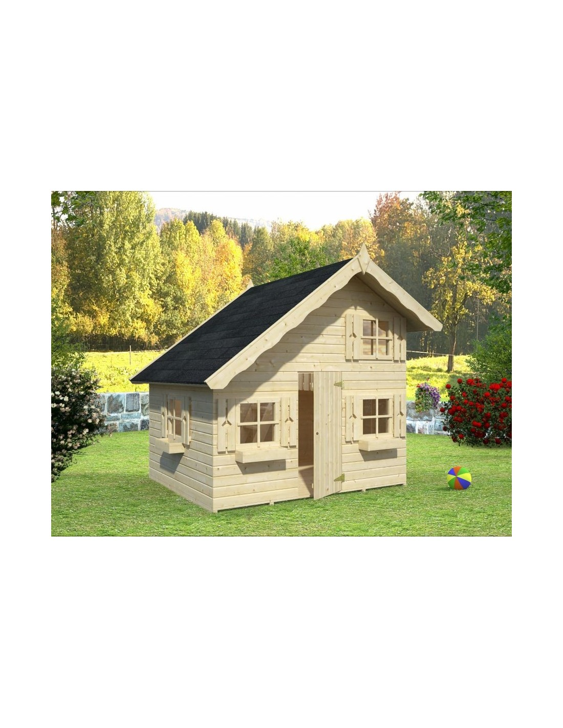 maisonnette annika enfants avec ou sans pilotis toboggan disponible. Black Bedroom Furniture Sets. Home Design Ideas
