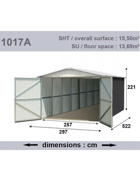 Garage métal 15.5 m² - Acier galvanisé beige