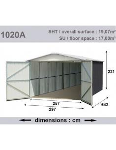 Garage métal 19.07 m² - Acier galvanisé beige