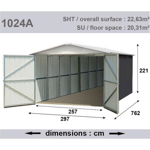 Garage métal 22.63 m² - Acier galvanisé beige