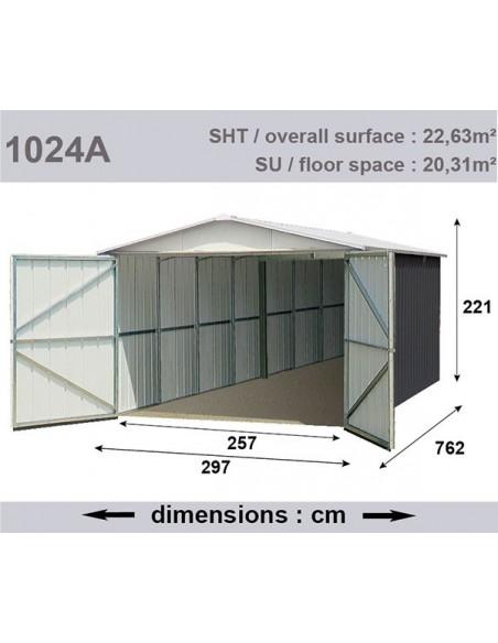 Garage métal anthracite 22.6 m² acier galvanisé - Trigano Jardin