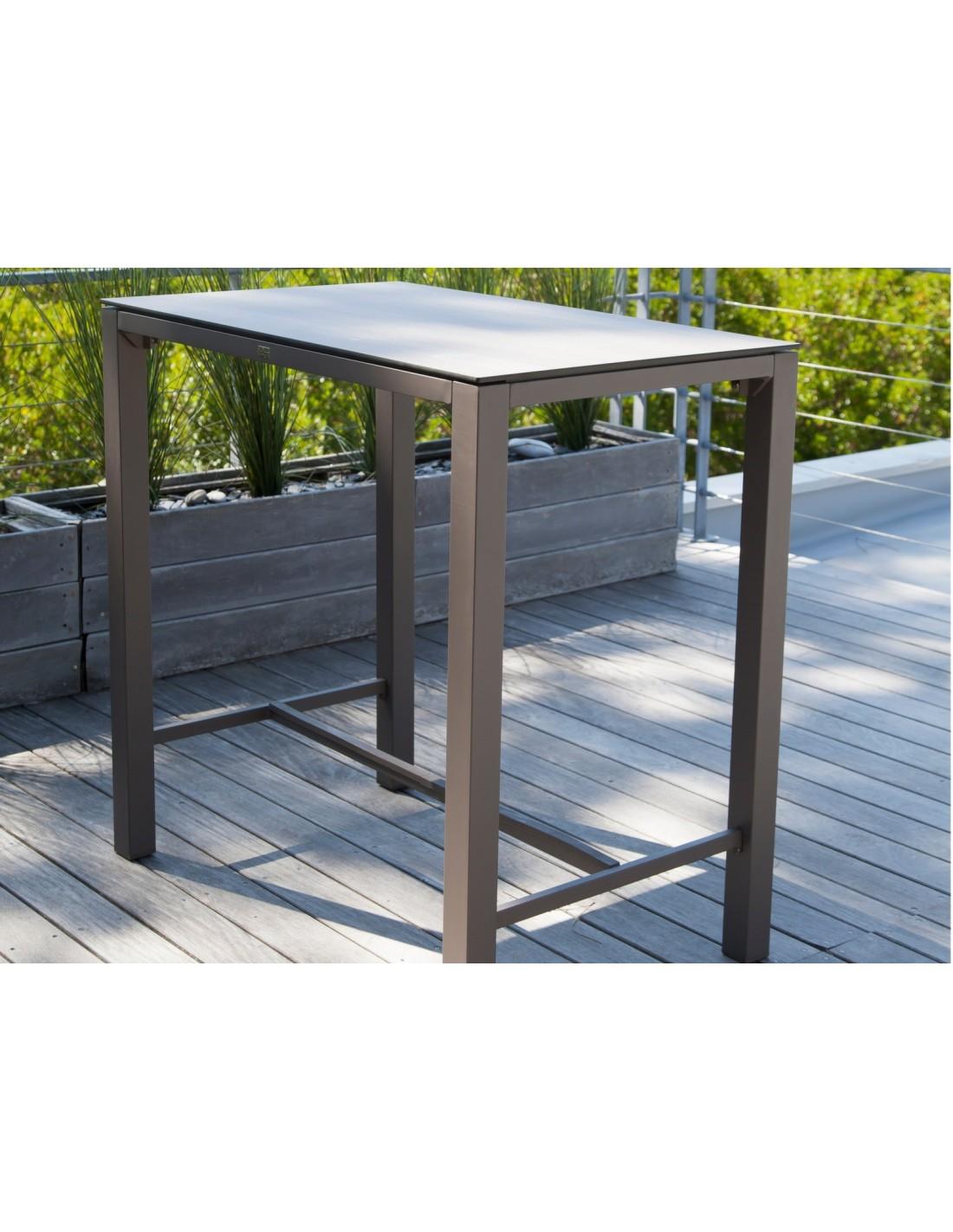 table haute stoneo d 39 ext rieur aluminium et plateau hpl. Black Bedroom Furniture Sets. Home Design Ideas