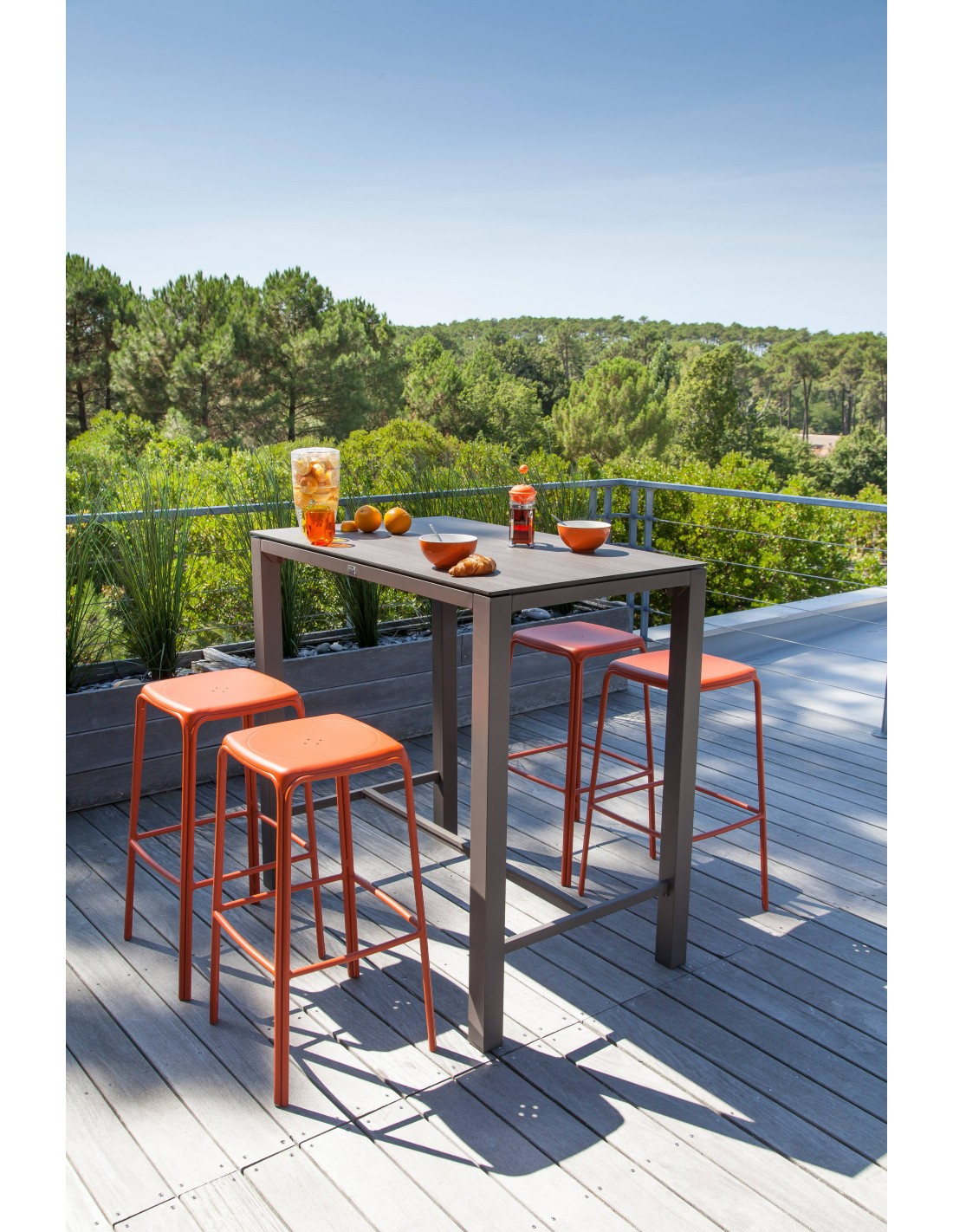 Table Haute Stoneo D 39 Ext Rieur Aluminium Et Plateau Hpl Proloisirs
