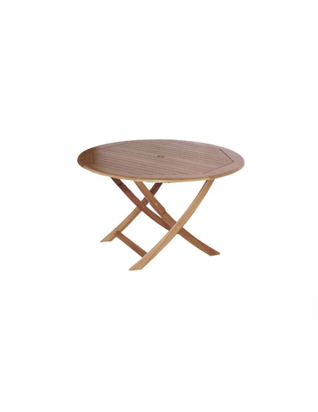Table Sophie pliante Ø80 ou Ø120cm en bois d\'eucalyptus - Proloisirs