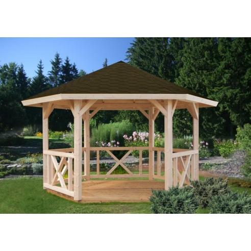Tonnelle de jardin Betty 9.9 m² en bois massif lamellé-collé