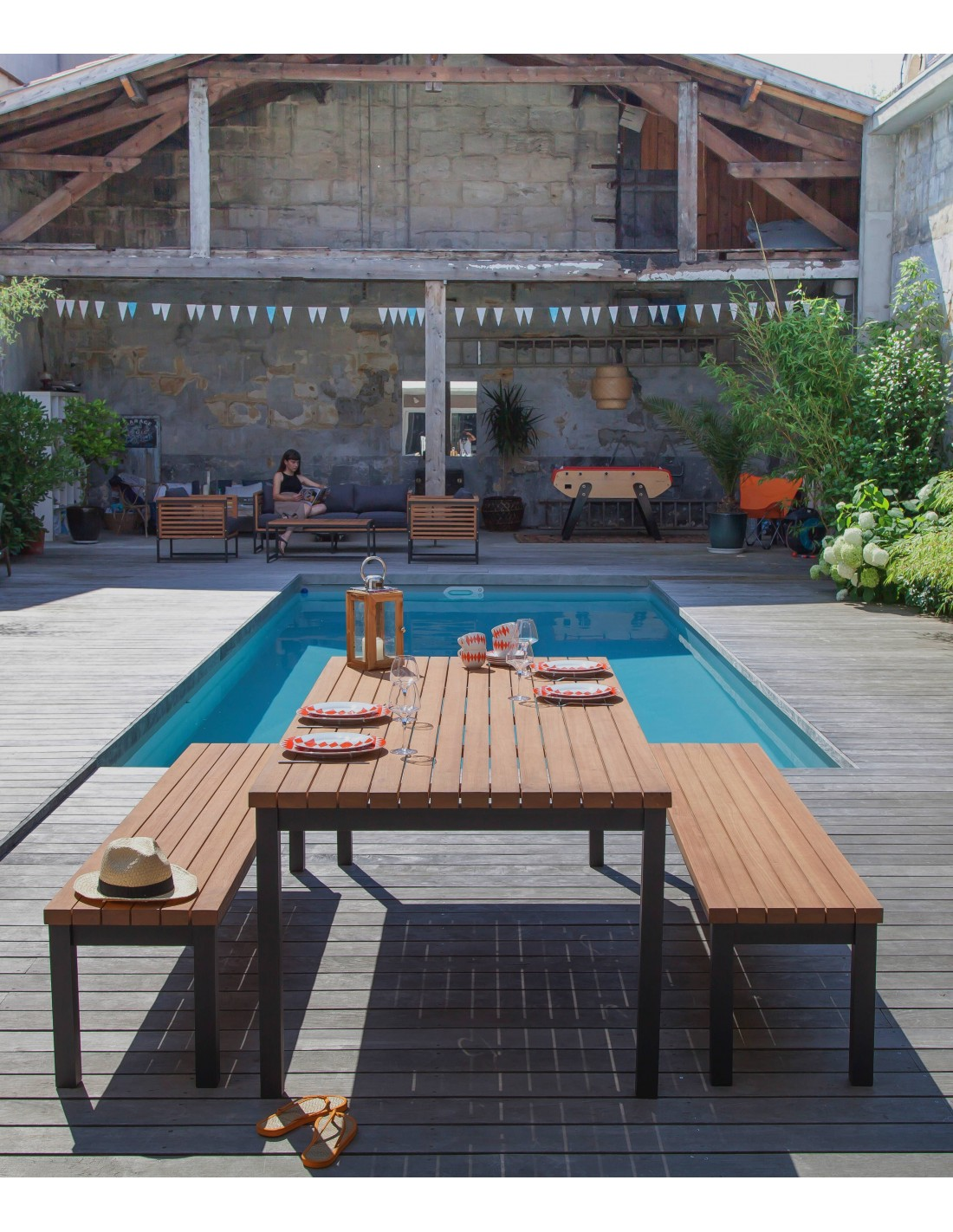 banc de jardin vegas en aluminium et eucalyptus fsc proloisirs. Black Bedroom Furniture Sets. Home Design Ideas