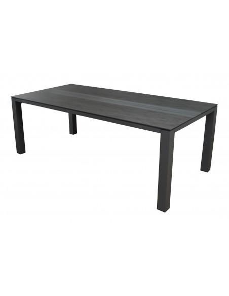 Table Galleo 210x100cm Aluminium et HPL -Grey/Brun- Proloisirs