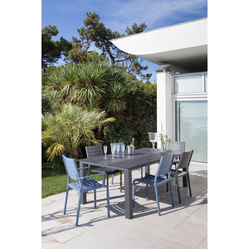 table de jardin galleo 210 cm aluminium et plateau hpl proloisirs. Black Bedroom Furniture Sets. Home Design Ideas
