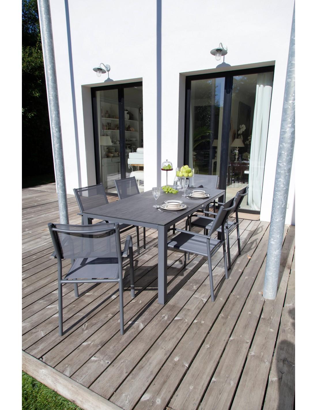 table de jardin stoneo 210 cm en aluminium et plateau hpl proloisirs. Black Bedroom Furniture Sets. Home Design Ideas
