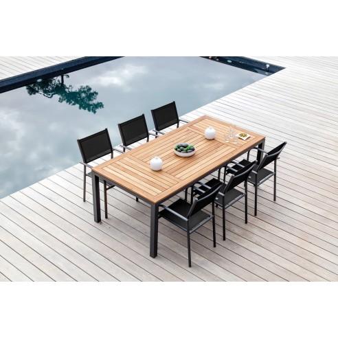 table d ejardin tempo 180 90 cm en aluminium et teck fsc proloisirs. Black Bedroom Furniture Sets. Home Design Ideas