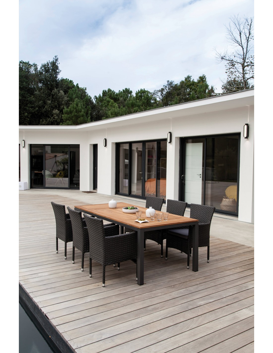 Table de jardin 210x100cm en aluminium et teck FSC- Proloisirs