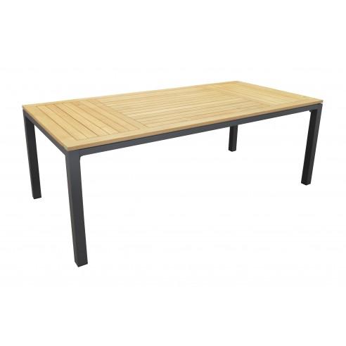 Table de jardin Tempo 210x100 cm en aluminium et Teck FSC - Proloisirs