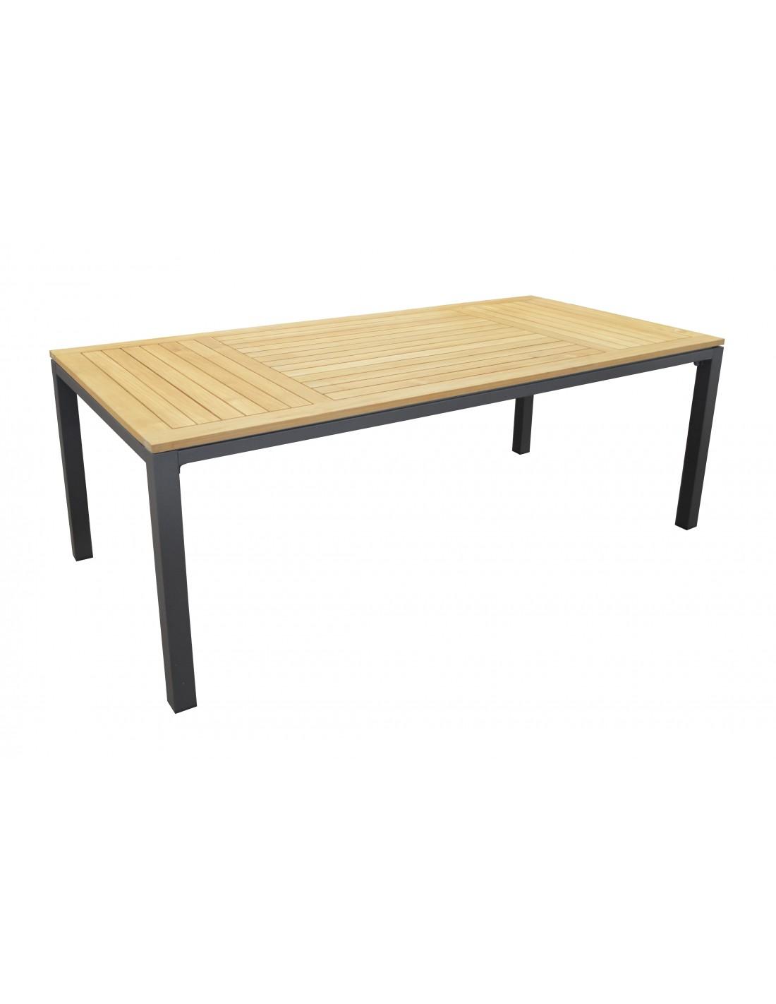 table de jardin 210x100cm en aluminium et teck fsc proloisirs. Black Bedroom Furniture Sets. Home Design Ideas