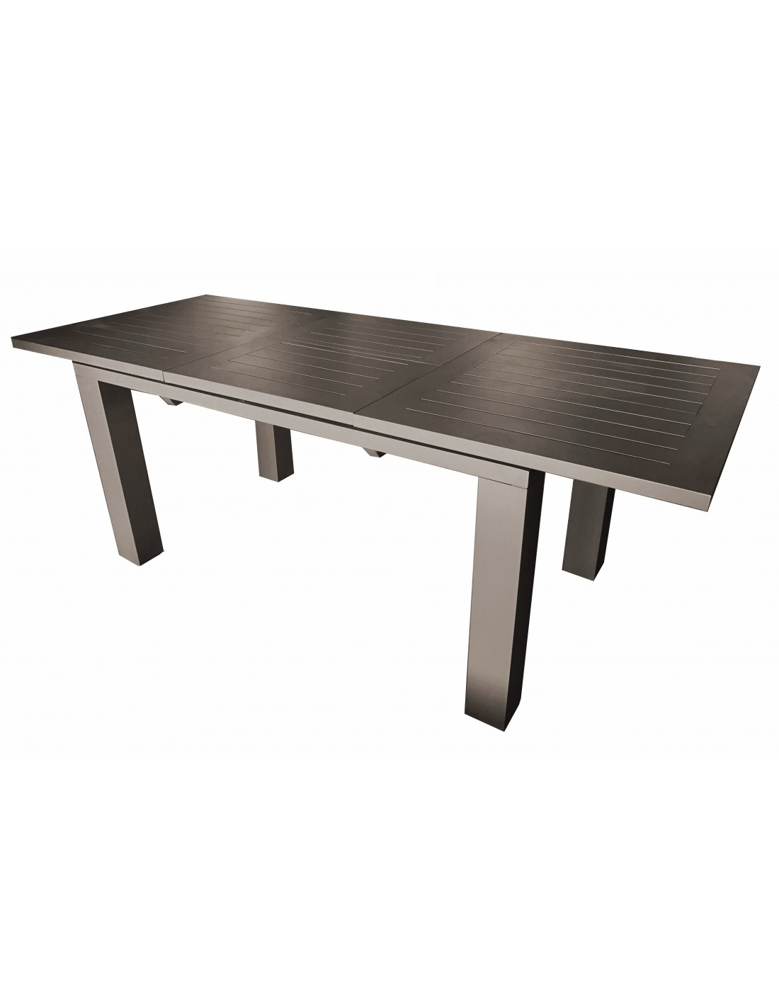 Table de jardin elisa 140 200x76 cm en aluminium proloisirs - Table de jardin rallonge papillon ...