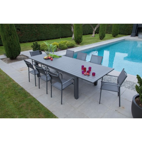table de jardin elisa extensible 220 320 x 109 cm aluminium