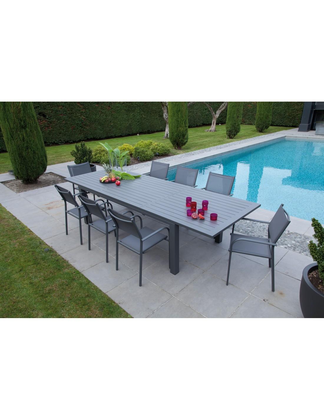 table de jardin elisa 220 320x109 cm en aluminium proloisirs. Black Bedroom Furniture Sets. Home Design Ideas