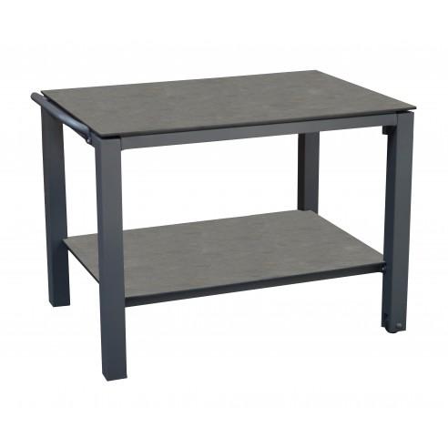Table Plancha à roulettes almuminium et TRESPA HPL Proloisirs