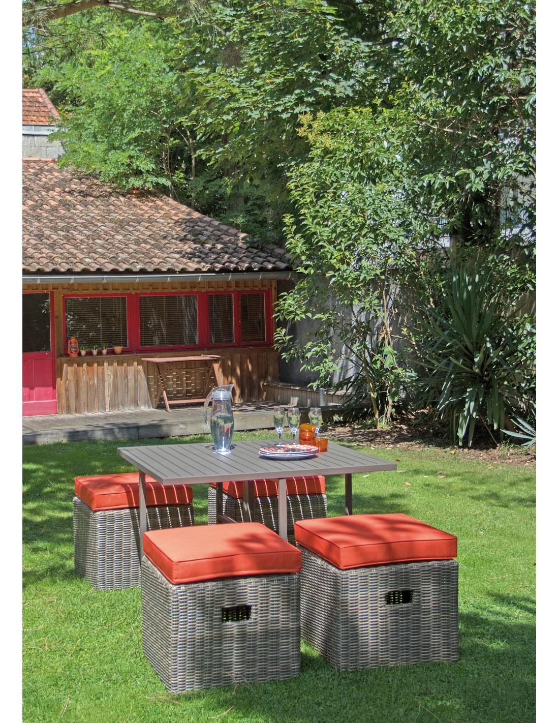 Set de jardin cubio 4 places en aluminium et r sine for Set de jardin