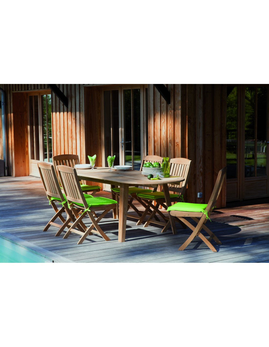 table de jardin lola en teck fsc 6 8 personnes proloisirs. Black Bedroom Furniture Sets. Home Design Ideas