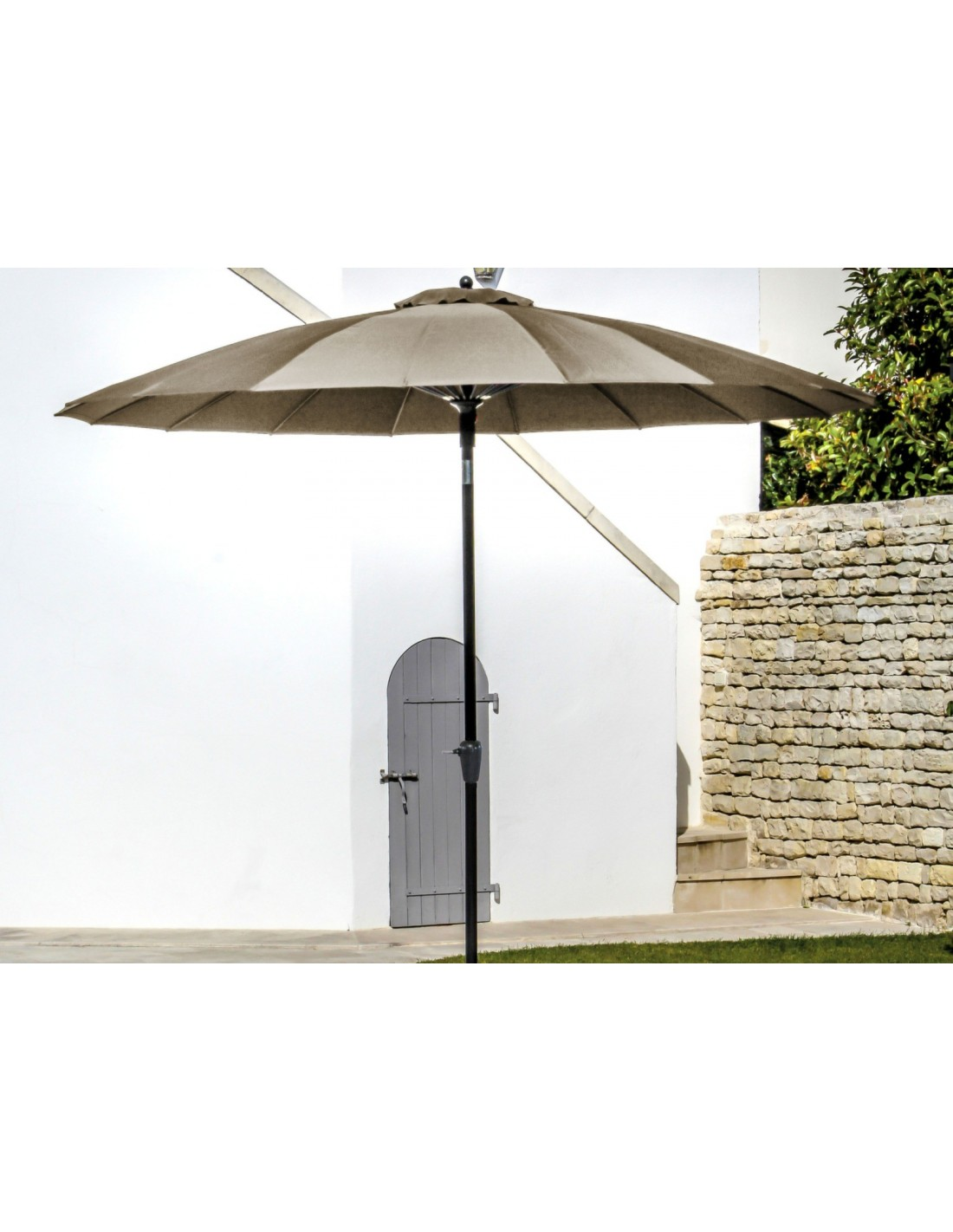 parasol droit rond 300 cm pagode manivelle proloisirs. Black Bedroom Furniture Sets. Home Design Ideas