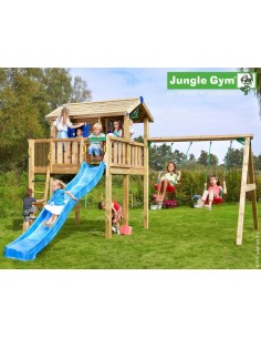 Tour de jeux Jungle Playhouse XL swing X'tra+toboggan de 2.65 m - Jungle gym