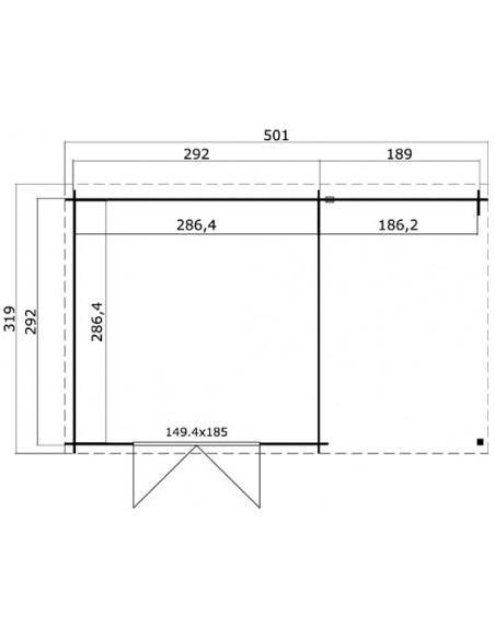 Abri de jardin Tampa 14 m² avec auvent bois massif 28 mm