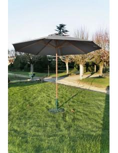 Parasol bois Ø 3.5 m ouverture à manivelle - Proloisirs