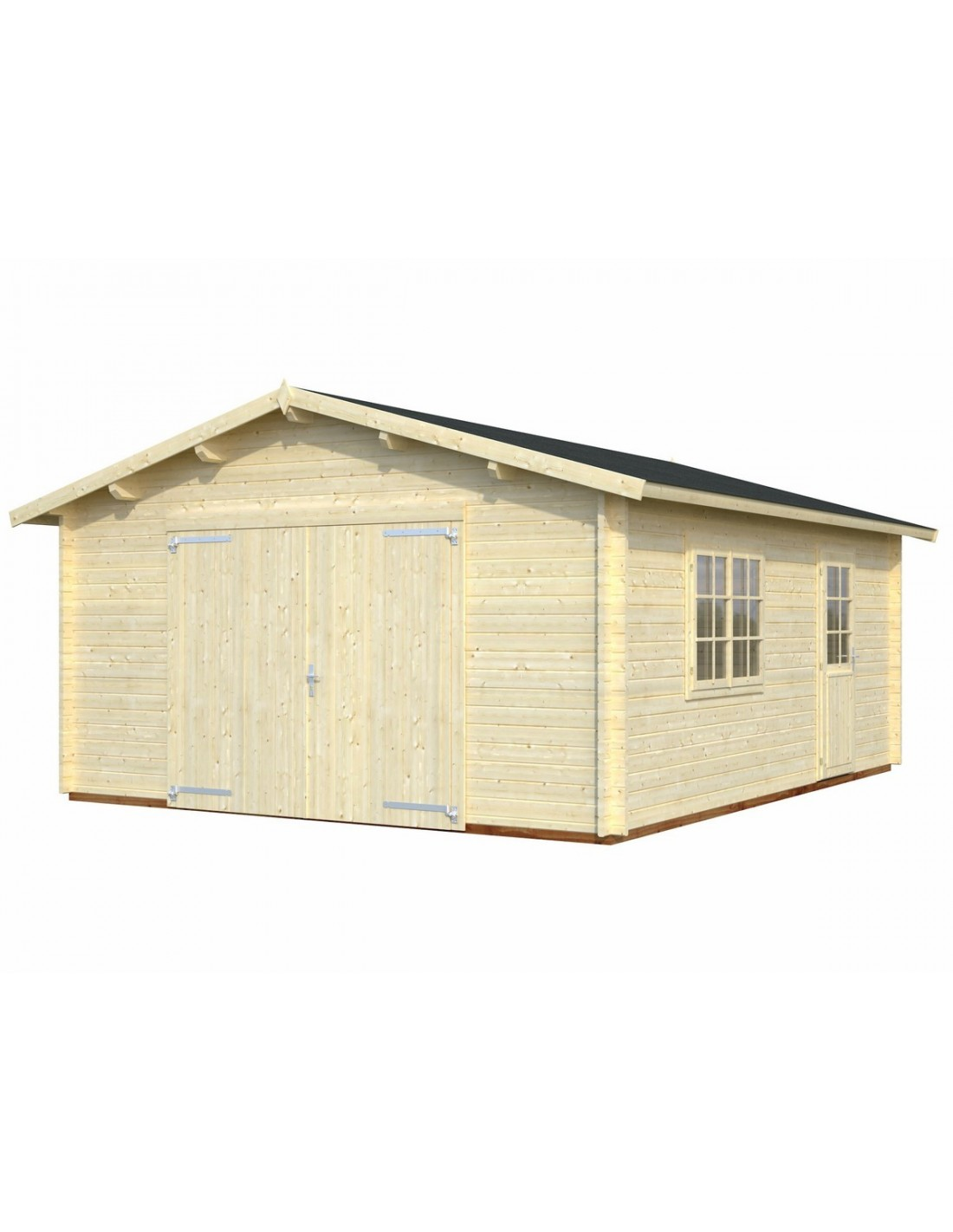 Garage roger 25 m au choix bois massif 44 mm - Garajes prefabricados precios ...
