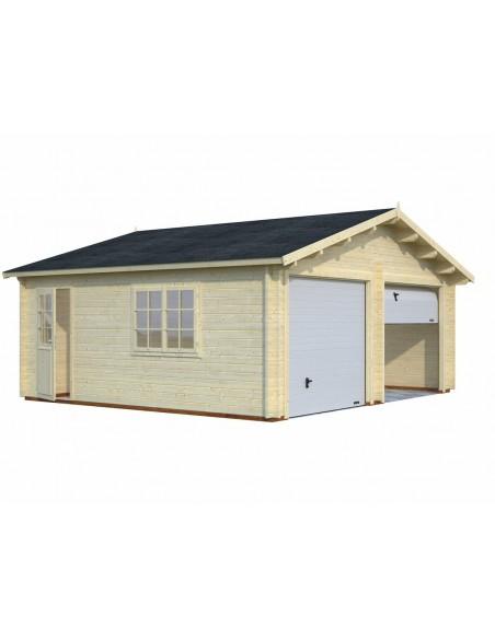 Double garage Roger 30 m² au choix en bois massif  44 mm