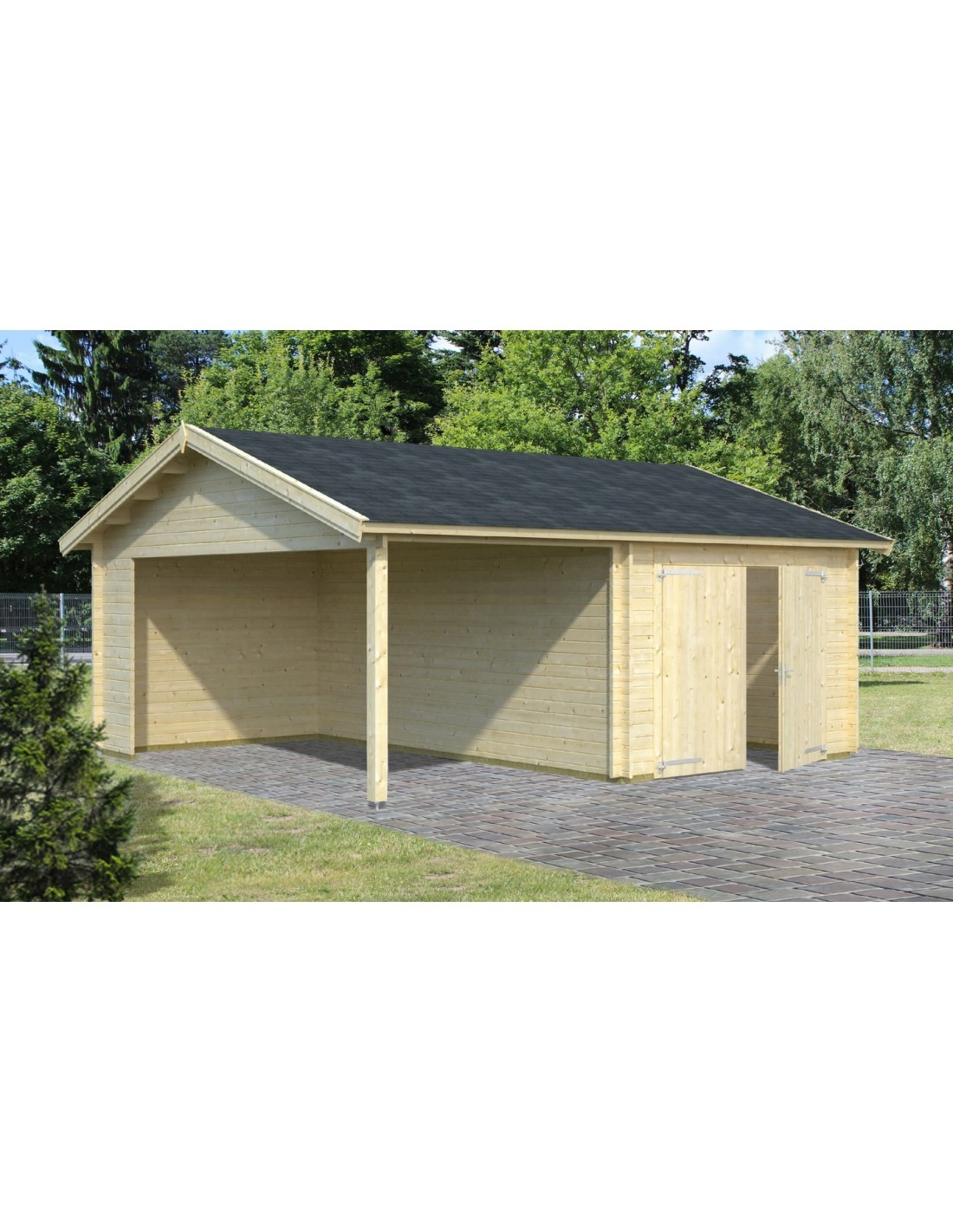 garage roger 29 m avec auvent au choix bois massif 44 mm. Black Bedroom Furniture Sets. Home Design Ideas