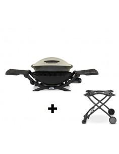 Pack Barbecue à gaz Q 2000 Titanium Weber + Chariot pliant 6557