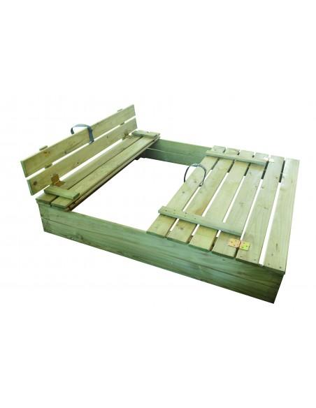 Bac à sable SANDY PARK en bois 120x120 pour enfants 3/8 ans