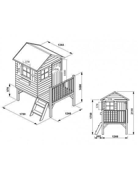 Maisonnette CHARLOTTE en bois avec toboggan et plancher traité