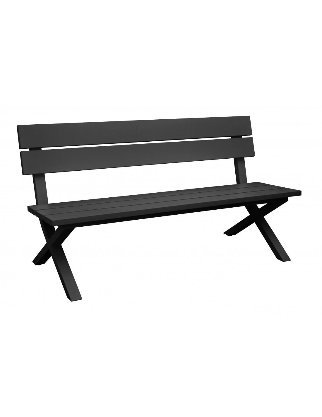 banc de jardin crossway avec dossier en aluminium grey ou blanc oc o. Black Bedroom Furniture Sets. Home Design Ideas