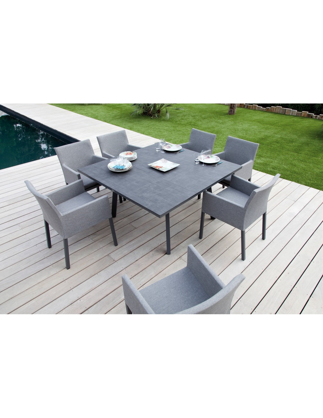 table barsa carr 140 plateau trespa coloris caf ou grey oc o. Black Bedroom Furniture Sets. Home Design Ideas