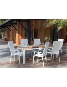 Table Zebra 220 cm en aluminium blanc et Teck - Océo