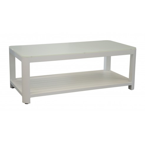 table basse zebra en aluminium blanc et verre alcide oc o. Black Bedroom Furniture Sets. Home Design Ideas