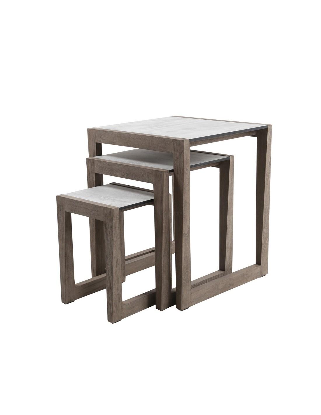 tables gigognes x 3 skaal en teck duratek et hpl les jardins. Black Bedroom Furniture Sets. Home Design Ideas