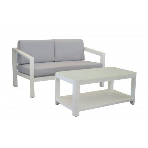 Canap table basse zebra en aluminium blanc et coussins for Canape zebre