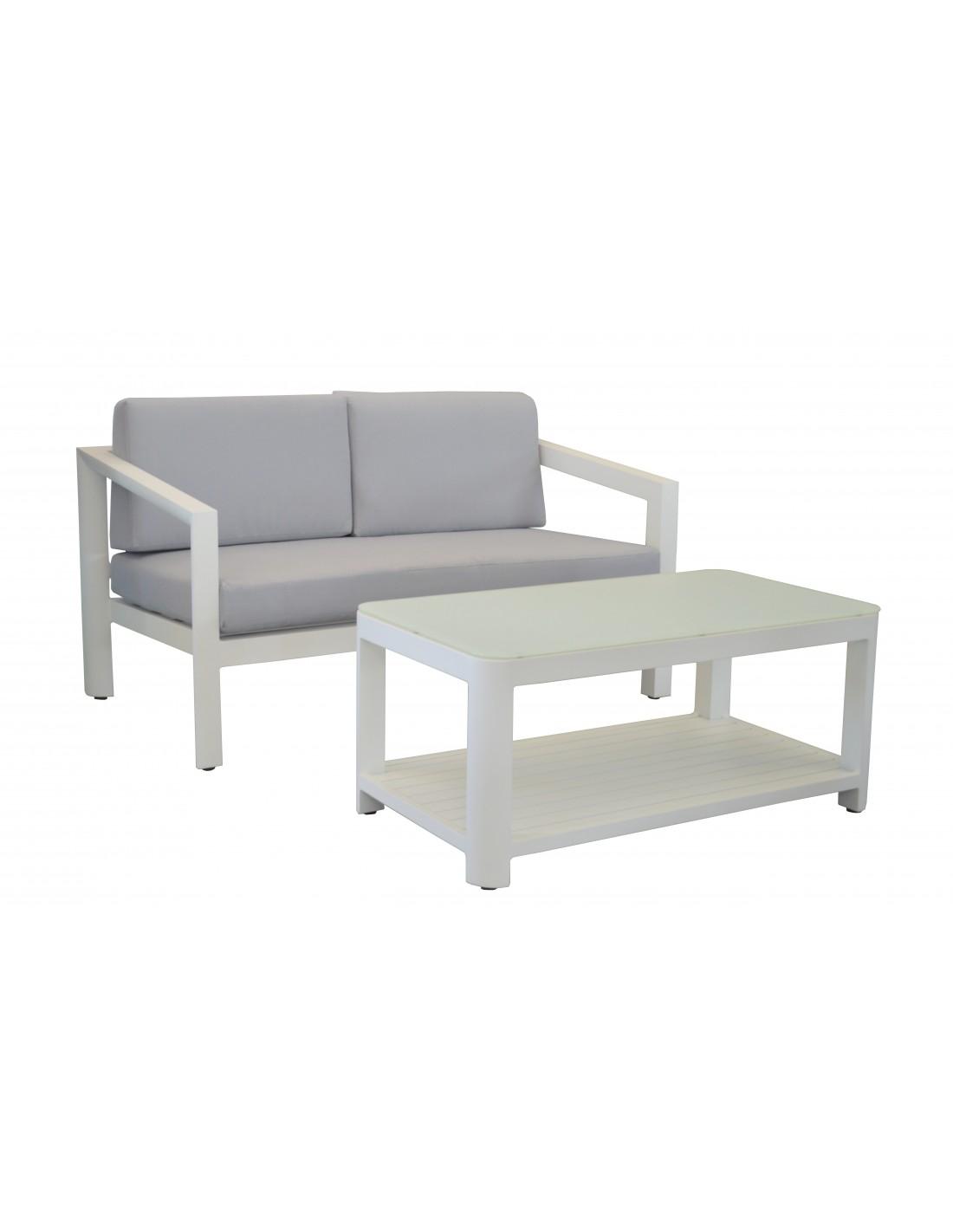 canap table basse zebra en aluminium blanc et coussins. Black Bedroom Furniture Sets. Home Design Ideas