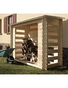 Abri bûches en bois avec plancher traité - Capacité 3 stères